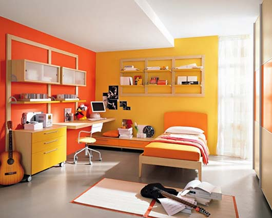 decoracion color amarillo y naranja